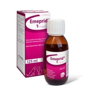 Emeprid 5mg/ml Oral Solution for Dogs and Cats bottle and packet