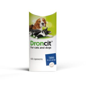 Pack shot of Droncit Wormer tablets for cats and dogs