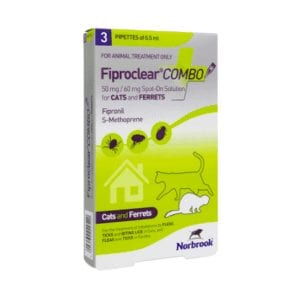 Norbrook Fiproclear Combo Spot-on for cats and ferrets 2 x pipettes carton