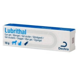Box containing tube of Lubrithal Eye Gel