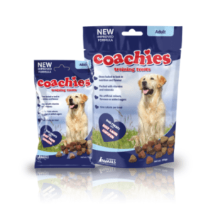 Packet of coaches training treats for dogs