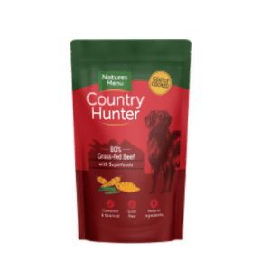 Pouch of country hunter beef dog food