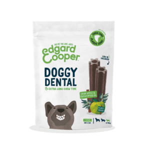 Packet of edgard cooper apple and eucalyptus dental chews for small dogs