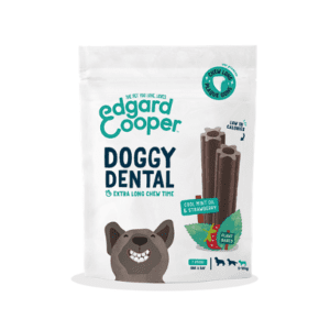Packet of edgard cooper mint and strawberry dental chews for small dogs