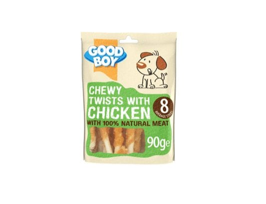 Packet of Good boy chewy twist with chicken