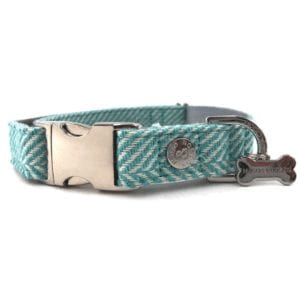 Hugo and hudson aqua herringbone collar for dogs