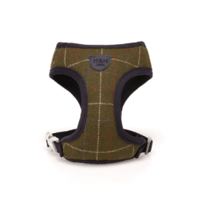 Hugo and hudson dark green tweed hardess for dogs