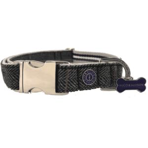 Hugo and hudson grey checked collar for dogs