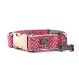 Hugo and hudson pink herringbone collar for dogs