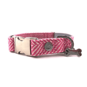 Hugo and hudson pink herringbone collar for dogs