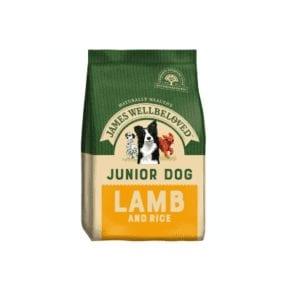 Packet of James wellbeloved Junior lamb dog food