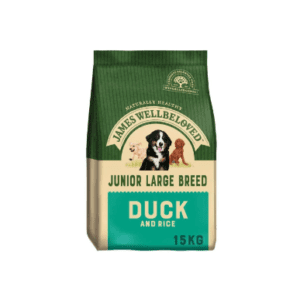 Packet of James wellbeloved junior large breed duck