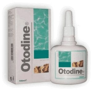 Bottle and box of Otodine Ear Cleaning Solution