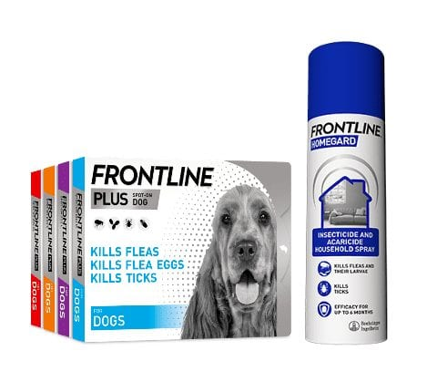 Group shot of Frontline Plus for Dog and Frontline Homegard Spray